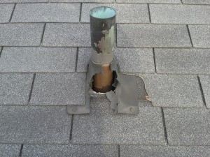 Damaged Pipe Flashing
